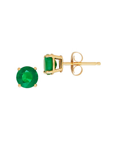 Fine Jewellery 14K Yellow Gold Emerald Stud Earrings-EMERALD-One Size