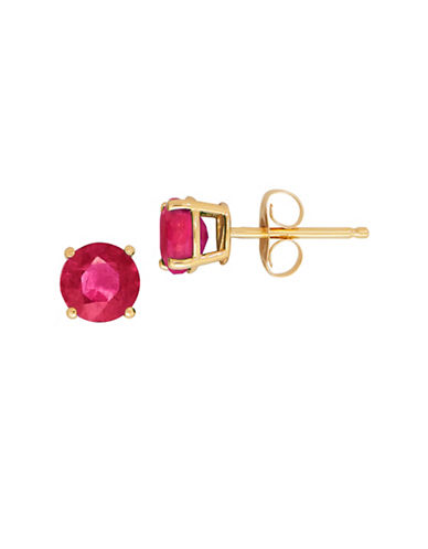 Fine Jewellery 14K Yellow Gold Ruby Stud Earrings-RUBY-One Size