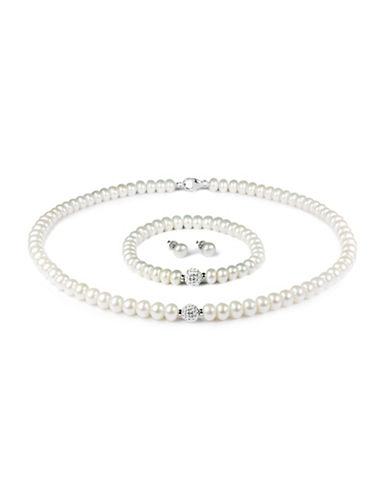 Fine Jewellery 6-9MM Pearl Necklace, Bracelet and Earrings Set with 8MM Crystals-PEARL-One Size
