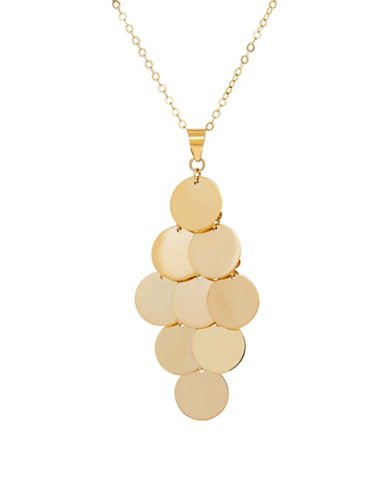 Fine Jewellery 14K Yellow Gold Geometric Disc Pendant Necklace-YELLOW GOLD-One Size