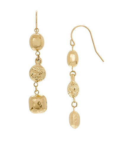 Fine Jewellery 14K Gold Triple Drop Earrings-YELLOW GOLD-One Size