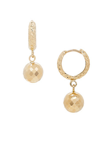 Fine Jewellery 14K Yellow Gold Hoop and Ball Earrings-YELLOW GOLD-One Size