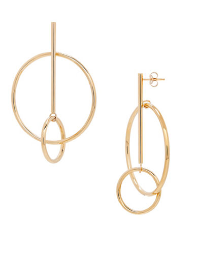 Fine Jewellery 14K Gold Hoop and Bar Earrings-YELLOW GOLD-One Size