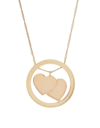 Fine Jewellery 14K Gold Heart and Hoop Necklace-YELLOW GOLD-One Size