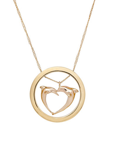 Fine Jewellery 14K Gold Dolphin Necklace-YELLOW GOLD-One Size