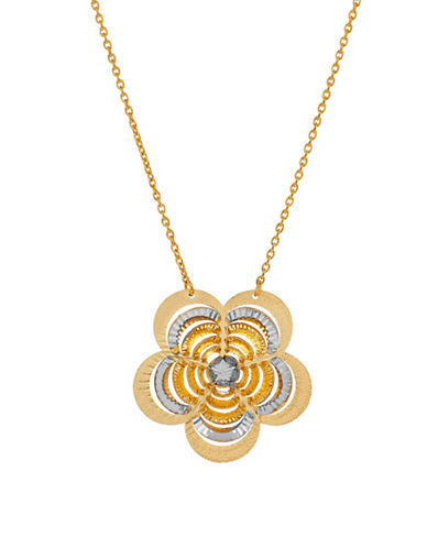 Fine Jewellery 14K Yellow Gold and Rhodium-Tone Flower on Chain Pendant Necklace-YELLOW GOLD-One Size