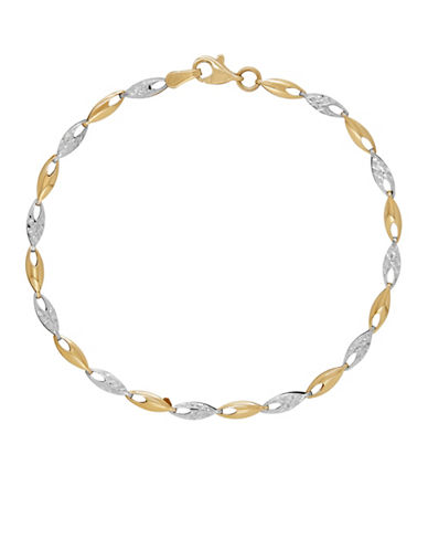 Fine Jewellery 14K Yellow Gold and Silvertone Folder Link Bracelet-YELLOW GOLD-One Size