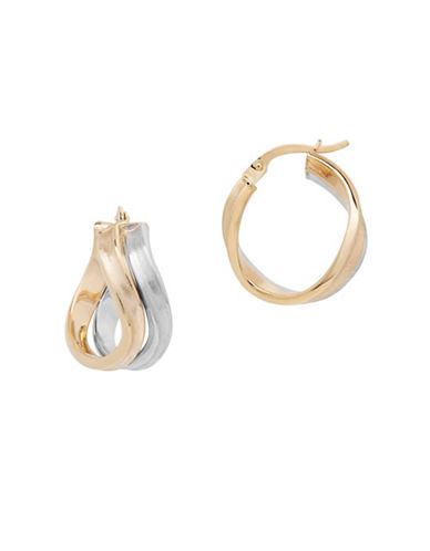 Fine Jewellery 14K Gold Wavy Hoop Earrings-YELLOW/WHITE GOLD-One Size