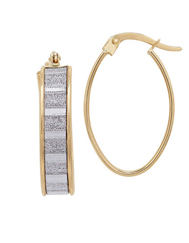 Fine Jewellery 14K Gold Glitter Hoop Earrings-YELLOW GOLD-One Size