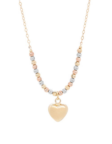 Fine Jewellery 14K Gold Heart and Bead Necklace-TRI COLOUR-One Size