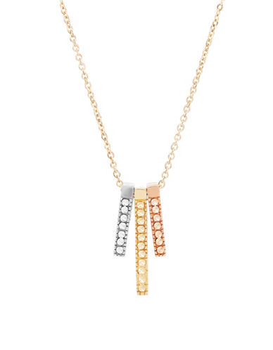Fine Jewellery 14K Gold Tri-Tone Bar Necklace-TRI COLOR-One Size
