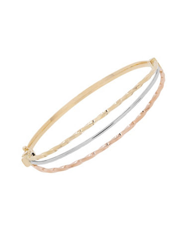 Fine Jewellery 14K Gold Tri-Tone Bangle-TRI COLOUR-One Size