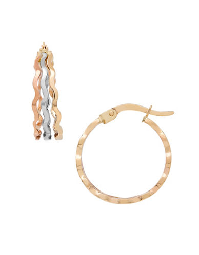 Fine Jewellery 14K Gold Tri-Tone Hoop Earrings-TRI COLOR GOLD-One Size