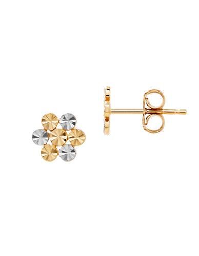 Fine Jewellery 14K Gold Two-Tone Flower Earrings-TWO TONE-One Size