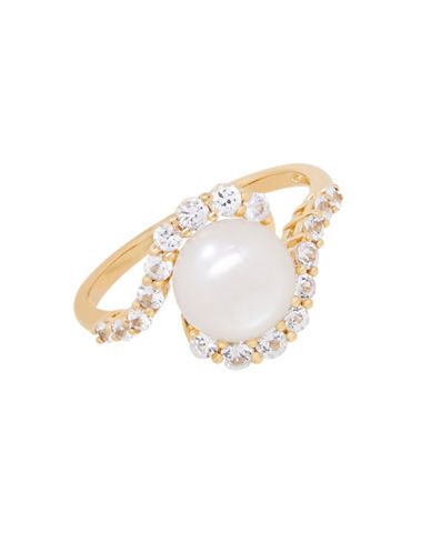 Fine Jewellery 8MM Freshwater Pearl and 14K Gold Sapphire Ring-PEARL-7