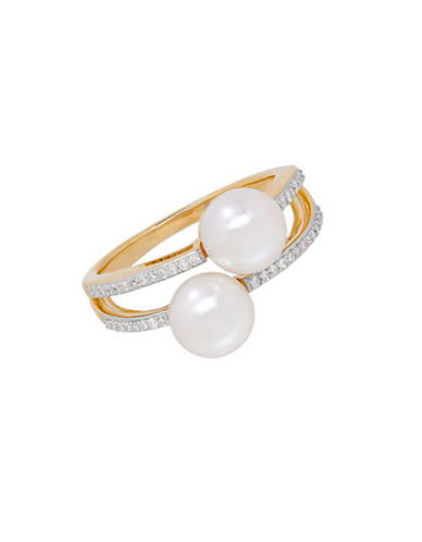 Fine Jewellery 7MM Freshwater Pearl and 14K Gold Double Ring-PEARL-7