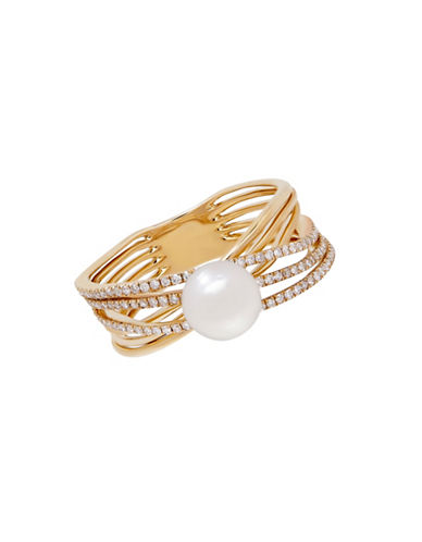 Fine Jewellery 6-7MM Freshwater Pearl and 14K Gold and 0.30 TCW Diamond Ring-PEARL-7