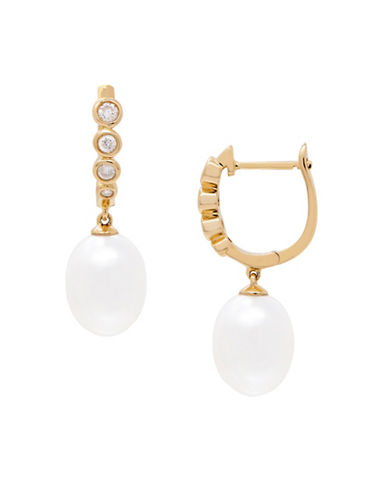 Fine Jewellery 8-9MM Freshwater Pearl and 14K Gold Drop Earrings with 0.216 TCW Diamonds-PEARL-One Size