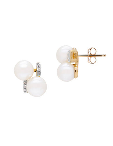 Fine Jewellery 6MM Freshwater Pearl and 14K Gold Pearl Earrings with 0.036 TCW Diamonds-PEARL-One Size