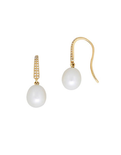 Fine Jewellery 8-9MM Freshwater Pearl and 14K Gold Hook Earrings with 0.119 TCW Diamonds-PEARL-One Size