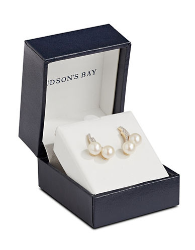 Fine Jewellery 14K Yellow Gold 0.084TCW Diamond and 6mm Pearl Stud Earrings-PEARL-One Size