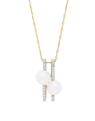 Fine Jewellery 7MM Freshwater Pearl and 14K Gold Pendant Necklace with 0.036 TCW Diamonds-PEARL-One Size