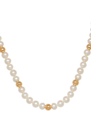 Fine Jewellery 14K Yellow Gold and 7-7.5mm Freshwater Pearl Strand Necklace-PEARL-One Size