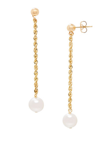 Fine Jewellery 6-7MM Freshwater Pearl and 14K Gold Dangle Earrings-PEARL-One Size