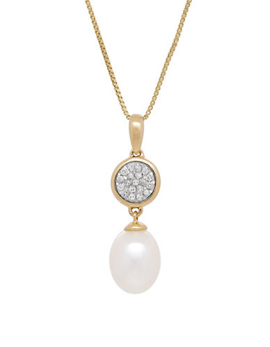 Fine Jewellery 9MM Freshwater Pearl and 14K Gold Pendant Necklace with 0.095 TCW Diamonds-PEARL-One Size