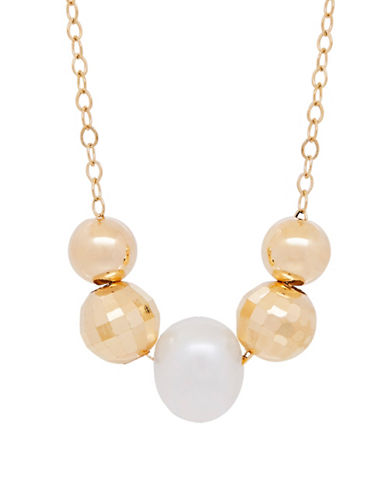 Fine Jewellery 7-8MM Freshwater Pearl and 14K Gold Necklace-PEARL-One Size