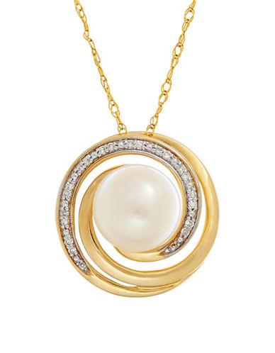 Fine Jewellery 9MM Freshwater Pearl, 0.06 TCW Diamonds and 14K Yellow Gold Swirl Pendant Necklace-PEARL-One Size