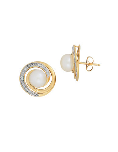 Fine Jewellery 7MM Freshwater Pearl, 0.044 TCW Diamonds and 14K Yellow Gold Swirl Stud Earrings-PEARL-One Size