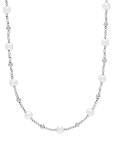 Fine Jewellery 6-7MM Freshwater Pearl Station Necklace-PEARL-One Size