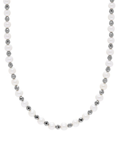 Fine Jewellery 6-6.5MM Freshwater Pearl and Black Hematite Station Necklace-PEARL-One Size