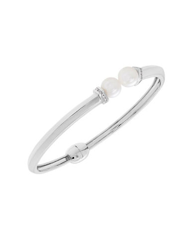 Fine Jewellery 7.5MM Freshwater Pearl and White Topaz Bangle-PEARL-One Size