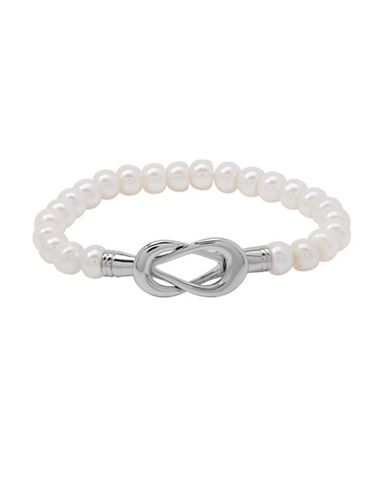 Fine Jewellery 7.5-8MM Freshwater Pearl Interlock Bracelet-PEARL-One Size