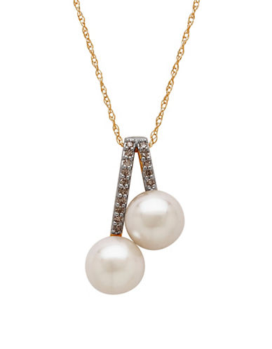 Fine Jewellery 7MM Freshwater Pearl and 14K Gold Necklace with 0.075 TCW Diamonds-PEARL-One Size