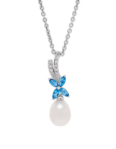 Fine Jewellery 8-9MM Freshwater Pearl and Two-Tone Topaz Sterling Silver Pendant Necklace-PEARL-One Size