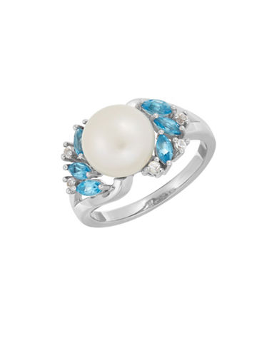 Fine Jewellery 9-10MM Freshwater Pearl, Blue Topaz, White Topaz and Sterling Silver Ring-PEARL-7