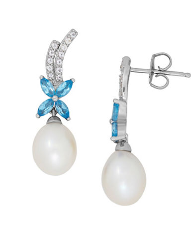 Fine Jewellery 7-8MM Freshwater Pearl, Blue Topaz, White Topaz and Sterling Silver Drop Earrings-PEARL-One Size