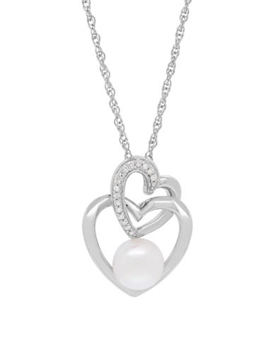 Fine Jewellery 7MM Freshwater Pearl and 0.045 TCW Diamond Pendant Necklace-PEARL-One Size