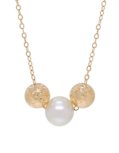 Fine Jewellery 8-9MM Freshwater Pearl and 14K Gold Necklace-PEARL-One Size