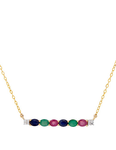 Fine Jewellery 14K Gold Bar Blue Sapphire, Emerald, and Ruby Necklace-MULTI-One Size