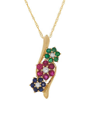Fine Jewellery 14K Gold Floral Bypass Necklace-MULTI-One Size