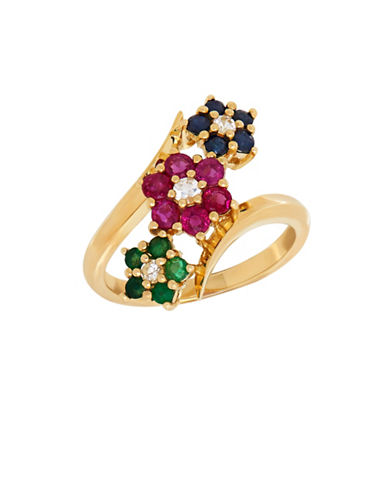 Fine Jewellery Sapphire, Ruby and Emerald 14K Gold Floral Ring-MULTI-7