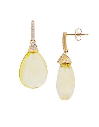 Fine Jewellery Quartz, 14K Gold and 0.15 TCW Diamond Drop Earrings-LIME-One Size