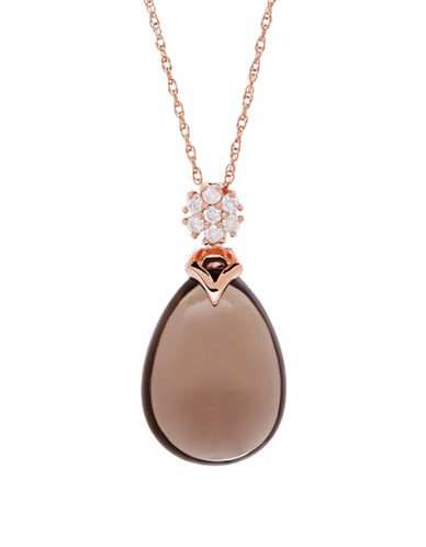 Fine Jewellery 14K Rose Gold and Smokey Quartz Pendant Necklace with 0.21 TCW Diamonds-BROWN-One Size