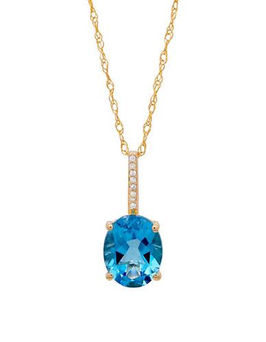 Fine Jewellery 14K Yellow Gold Diamond and Blue Topaz Necklace-BLUE TOPAZ-One Size