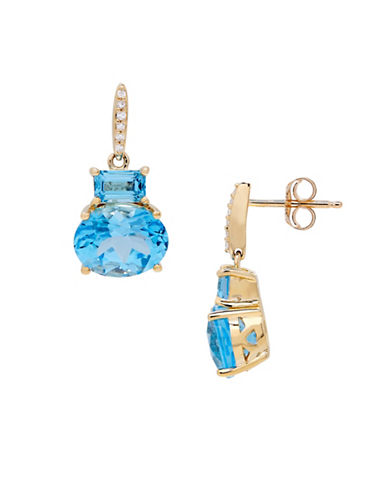 Fine Jewellery Diamonds and Swiss Blue Topaz 14K Gold Drop Earrings-BLUE TOPAZ-One Size