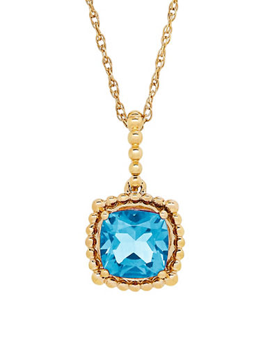 Fine Jewellery 14K Blue Topaz Pendant Necklace-BLUE TOPAZ-One Size